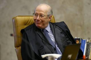 O ministro do STF Celso de Mello durante sessão de julgamento da prisão em 2° instância