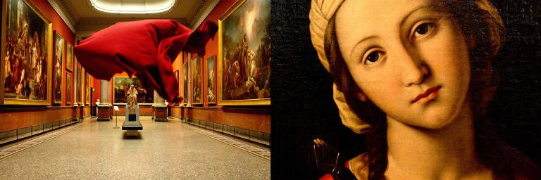 Sala do Museu Fabre, em Montpellier, no sul da França (esq.), e detalhe de uma das obras