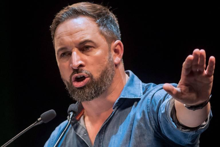O ultradireitista Santiago Abascal (Vox), durante evento de campnaha