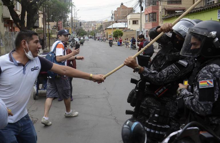 Atos a favor e contra o presidente Evo Morales