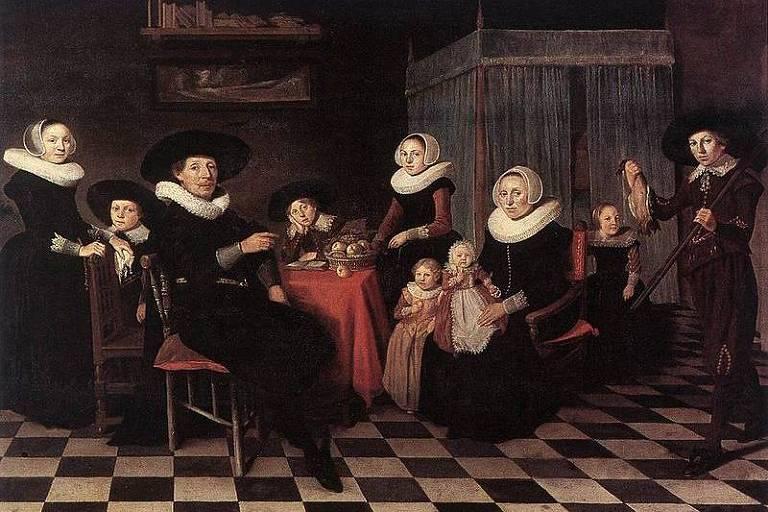 """Quadro """"Family Portrait"""", de Anthonie Palamedes, pintado em 1635"""