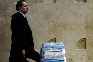 President of Brazil's Supreme Federal Court Dias Toffoli arrives for a session of the Supreme Court in Brasilia