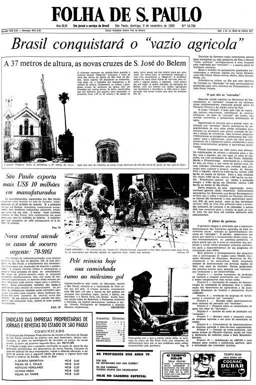Primeira página da Folha de S.Paulo de 9 de novembro de 1969