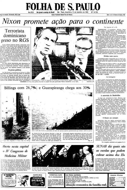 Primeira página da Folha de S.Paulo de 11 de novembro de 1969