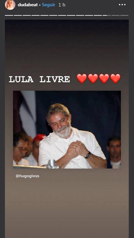 Famosos pedem e celebram a liberdade de Lula