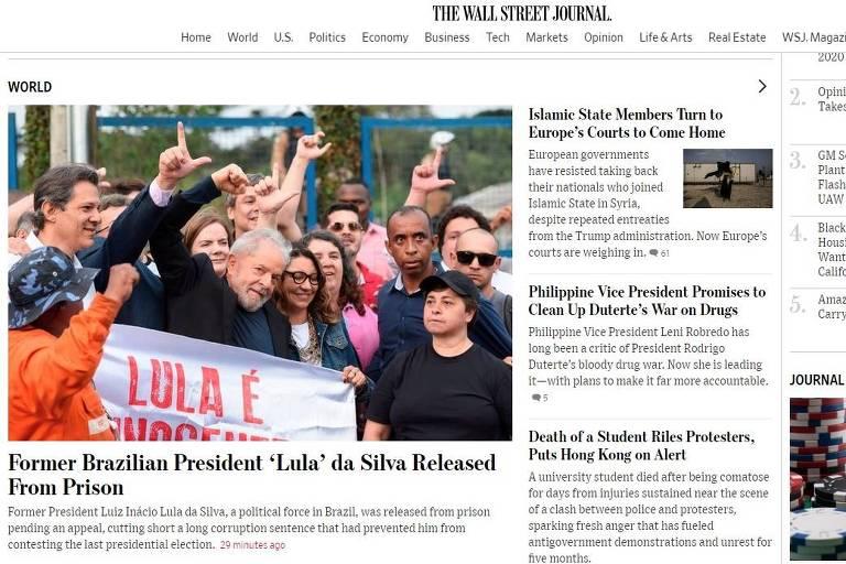 Jornal americano Wall Street Journal repercute libertação do ex-presidente Lula