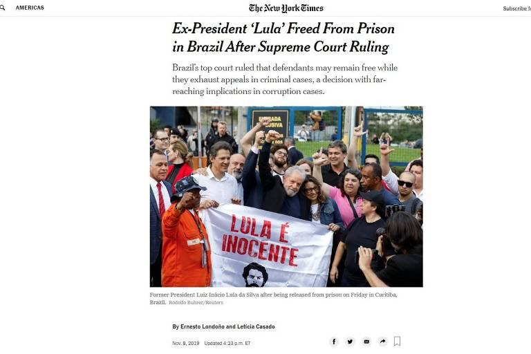 Imprensa internacional repercute libertação de Lula