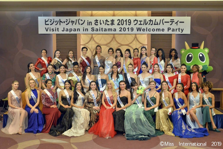 Candidatas participam de eventos durante confinamento do Miss International 2019, em Tóquio