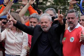 Former Brazilian President Luiz Inacio Lula da Silva arrives to deliver a speech after being released from prison, in Sao Bernardo do Campo