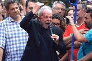 O ex-presidente Lula em ato no Sindicato dos Metalúrgicos do ABC