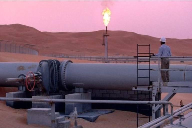 Imagem do campo de extração de petróleo