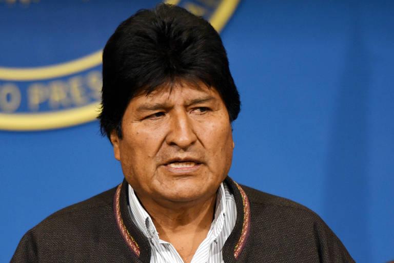 Evo Morales, presidente da Bolívia que acaba de renunciar, em coletiva de imprensa.