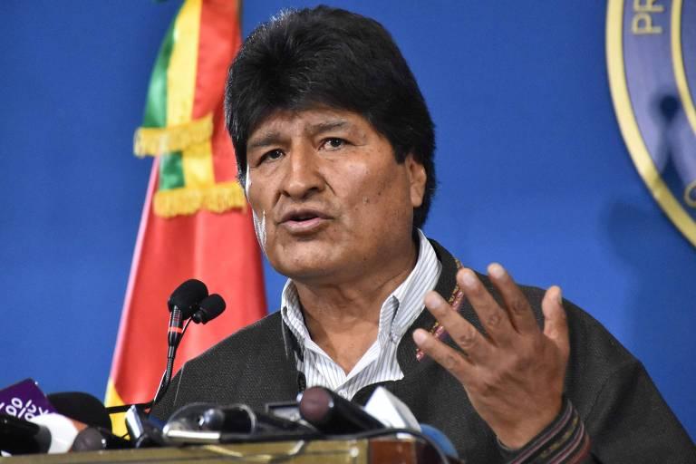 O ex-presidente boliviano, Evo Morales, durante entrevista coletiva