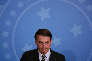 Brazil's President Bolsonaro attends the launch of the Green and Yellow program at the Planalto Palace in Brasilia