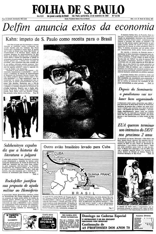 Primeira página da Folha de S.Paulo de 13 de novembro de 1969