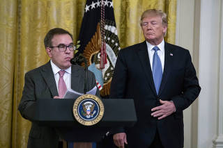 Andrew Wheeler, the administrator of the Environmental Protection Agency, speaks alongside President Donald Trump at an event at the White House, in Washington, July 8, 2019. (Anna Moneymaker/The New York Times)