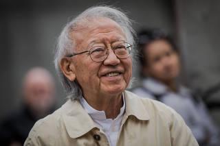 Ruy Ohtake na abertura da exposição