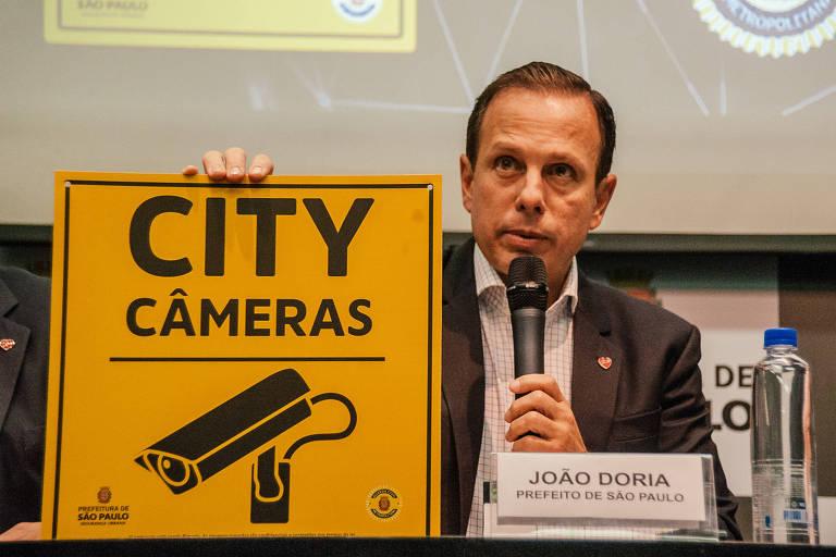 João Doria (PSDB) durante lançamento do programa City Câmeras, em 2017