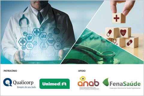 Imagens de medicina, médico com um tablet, estetoscópio e blocos com símbolos de medicina