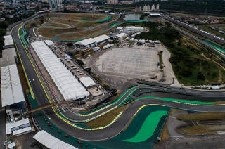 Vista aérea do autódromo de Interlagos, em SP