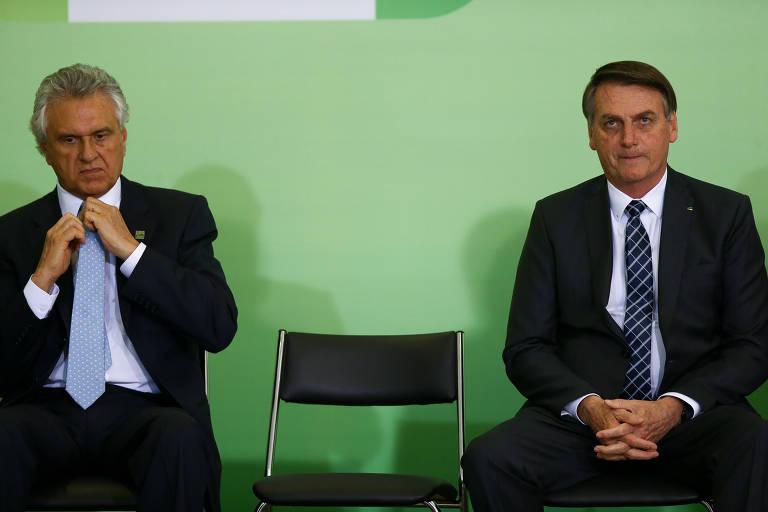 O governador de Goiás, Ronaldo Caiado (DEM), ao lado do presidente Jair Bolsonaro, em novembro de 2019