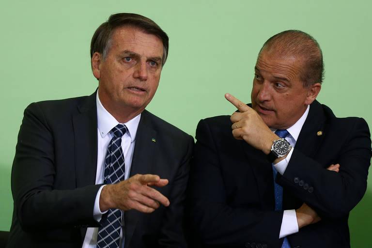 Jair Bolsonaro e o ministro Onyx Lorenzoni, em evento em novembro