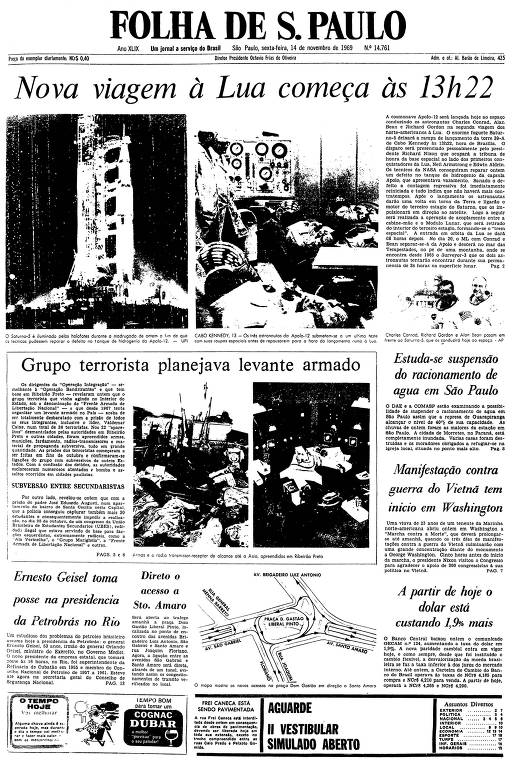 Primeira página da Folha de S.Paulo de 14 de novembro de 1969