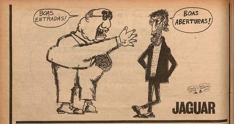Cartum do cartunista Jaguar para o semanário O Pasquim, que integra mostra no Sesc Ipiranga