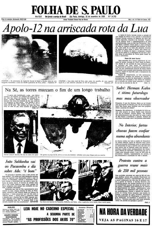 Primeira página da Folha de S.Paulo de 16 de novembro de 1969