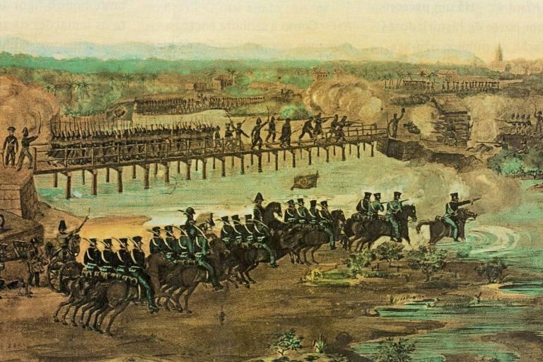 Imagem retrata o combate entre rebeldes da Confederação do Equador e forças do Império no Recife, em 1824