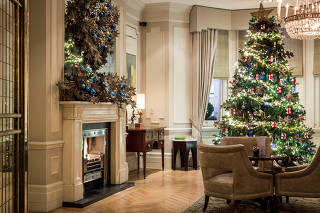 Christmas decorations in The Kensington hotel in London. (The Kensington via The New York Times)