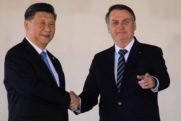 O dirigente chinês, Xi Jinping, e o presidente Jair Bolsonaro durante encontro em Brasília