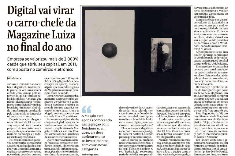 Intervenção de Cildo Meireles no caderno Mercado da Folha de S.Paulo em 10.nov.2019