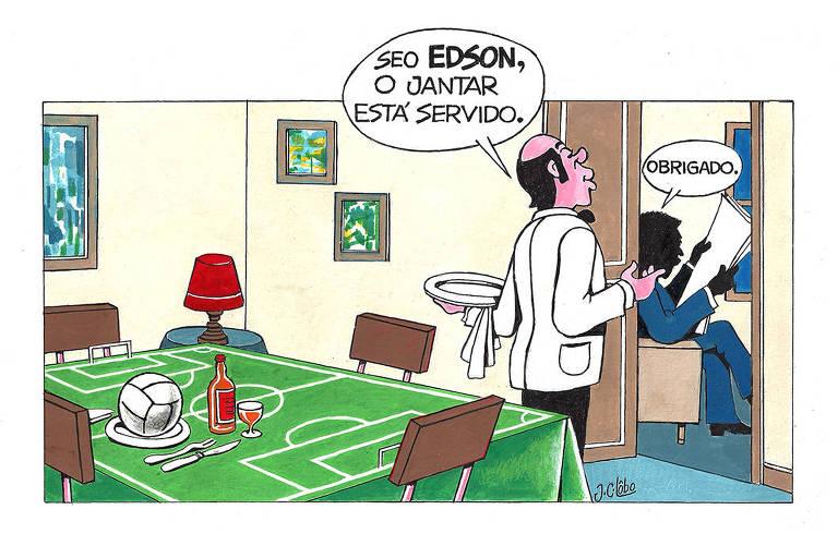 Charge de JC Lobo exposta na mostra 'Pelé Mil Gols'