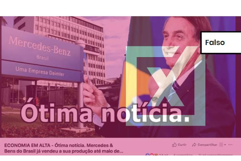 """Post com vídeo é ilustrado por uma montagem com uma foto da sede da Mercedes-Benz no Brasil, em São Bernardo do Campo (SP), e uma imagem do presidente Jair Bolsonaro (PSL). A montagem é acompanhada pela frase """"Ótima notícia""""."""