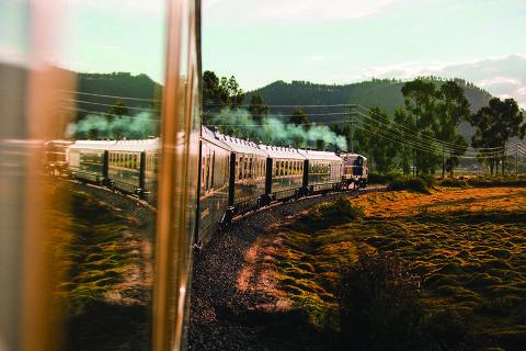 O trem Hiram Bingham, que vai de Cusco a Aguas Calientes