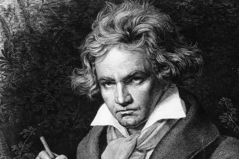 Retrado do compositor alemão Ludwig van Beethoven pintado pelo artista Karl Joseph Stieler. *** Portrait de Ludwig van Beethoven (1770-1827), musicien allemand, composant la Missa solemnis, d'apres la peinture de Karl Joseph Stieler (1781-1858)  Photo Whiteimages / Leemage / AFP ***DIREITOS RESERVADOS. NÃO PUBLICAR SEM AUTORIZAÇÃO DO DETENTOR DOS DIREITOS AUTORAIS E DE IMAGEM***