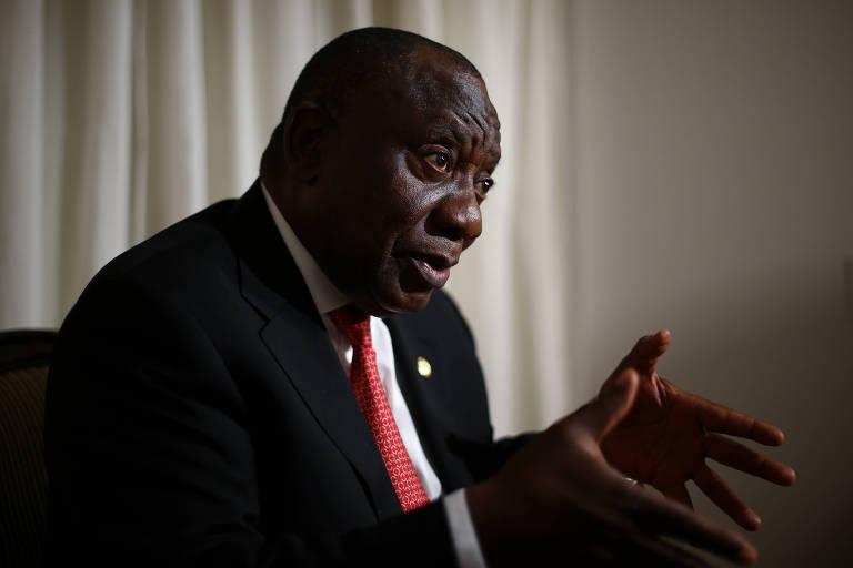 O presidente da África do Sul, Cyril Ramaphosa, durante entrevista em Brasília