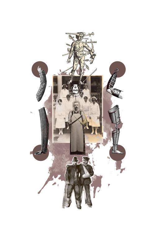 Colagem digital com diversos elementos relacionados aos tratamentos médicos antigos: dois soldados amputados se consolando, próteses de pernas e braços, tratamentos cerebrais, açougueiro afiando suas facas em frente a um grupo de enfermeiras sem face.