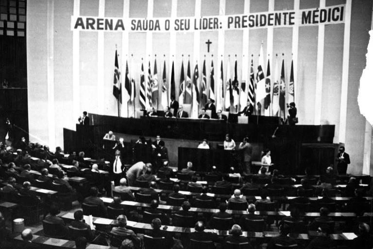 Convenção que elegeu direção nacional da Arena em 1969, em Brasília