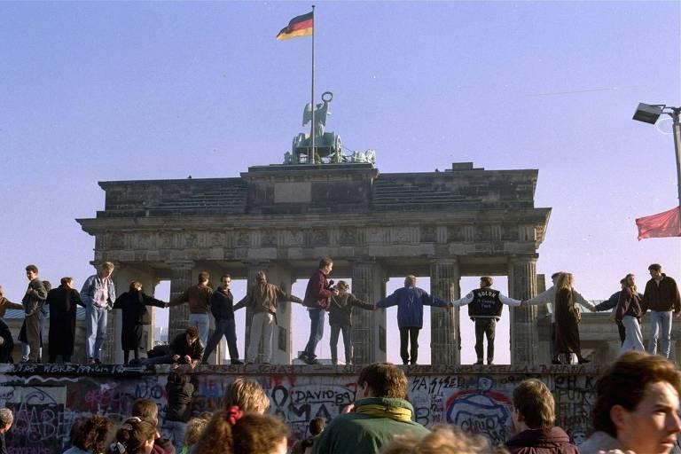 Comemoração da Queda do Muro de Berlim no Portão de Brandenburgo, em Berlim
