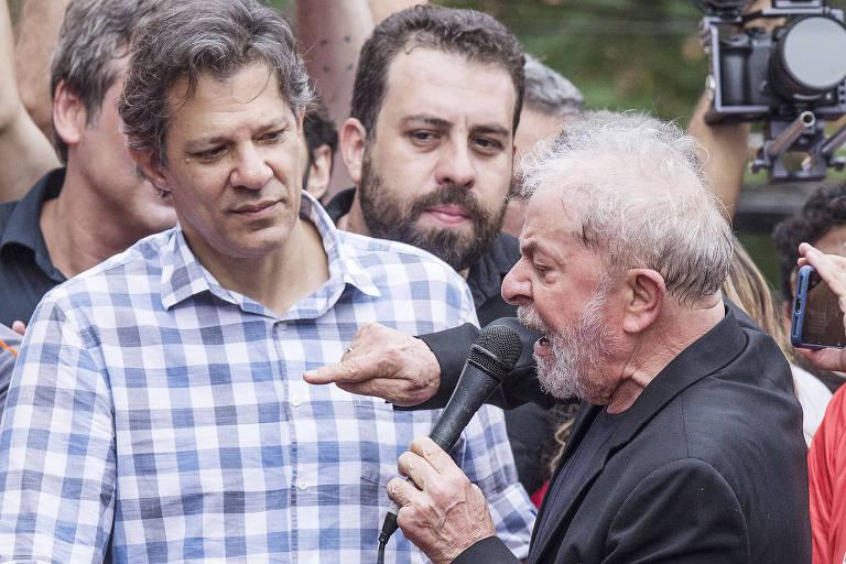 O ex-presidente Lula em discurso no sindicato dos metalúrgicos do ABC