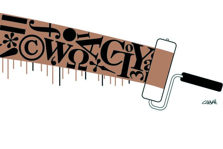 Um rolo de tinta pintando uma mancha marrom com algumas letras
