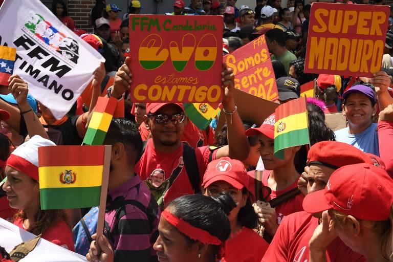 Manifestações contra e a favor do regime Maduro na Venezuela