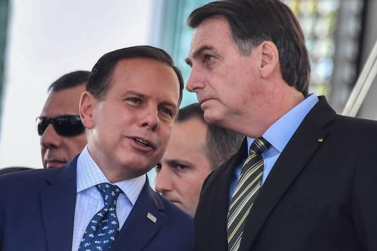 O governador João Doria (PSDB) e o presidente Jair Bolsonaro, em evento militar em São Paulo