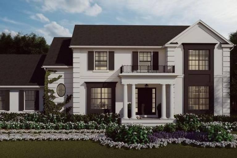 Uma representação da aparência da casa pronta, localizada em Nova Jersey, a cerca de uma hora ao sul de Nova York