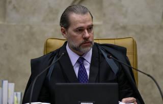 O presidente do STF, Dias Toffoli, durante a sessão