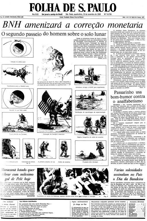 Primeira página da Folha de S.Paulo de 19 de novembro de 1969