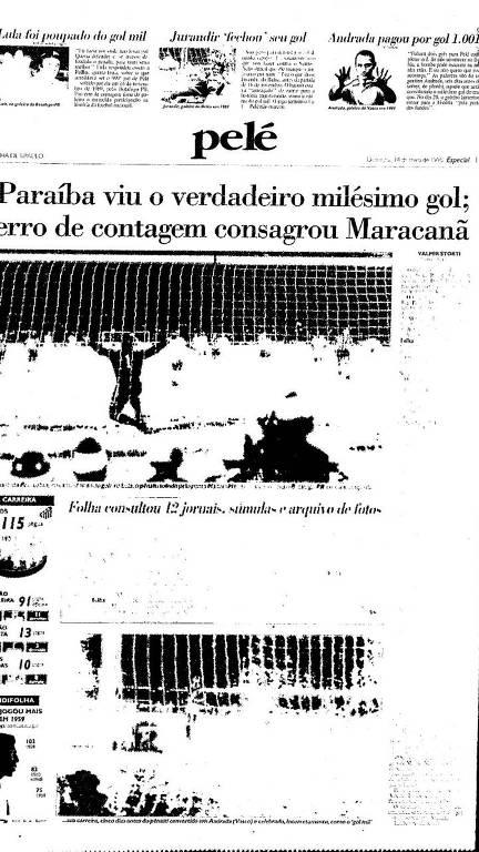 Reprodução Folha 1995 - gol mil de Pelé