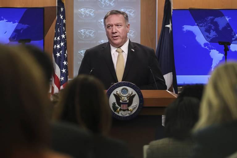 O secretário de Estado, Mike Pompeo, durante anúncio